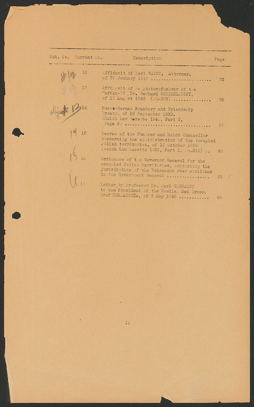 Nuremberg - Document Viewer - Table of contents for the