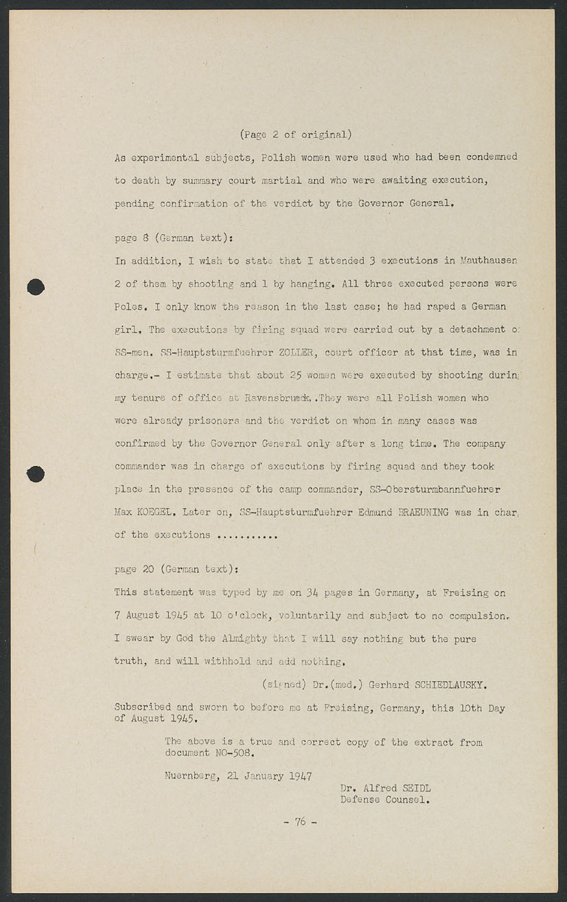 Nuremberg document viewer extract from an affidavit concerning extract from an affidavit concerning conditions and activities in the concentration camps including medical conditions death rates and experiments alramifo Images
