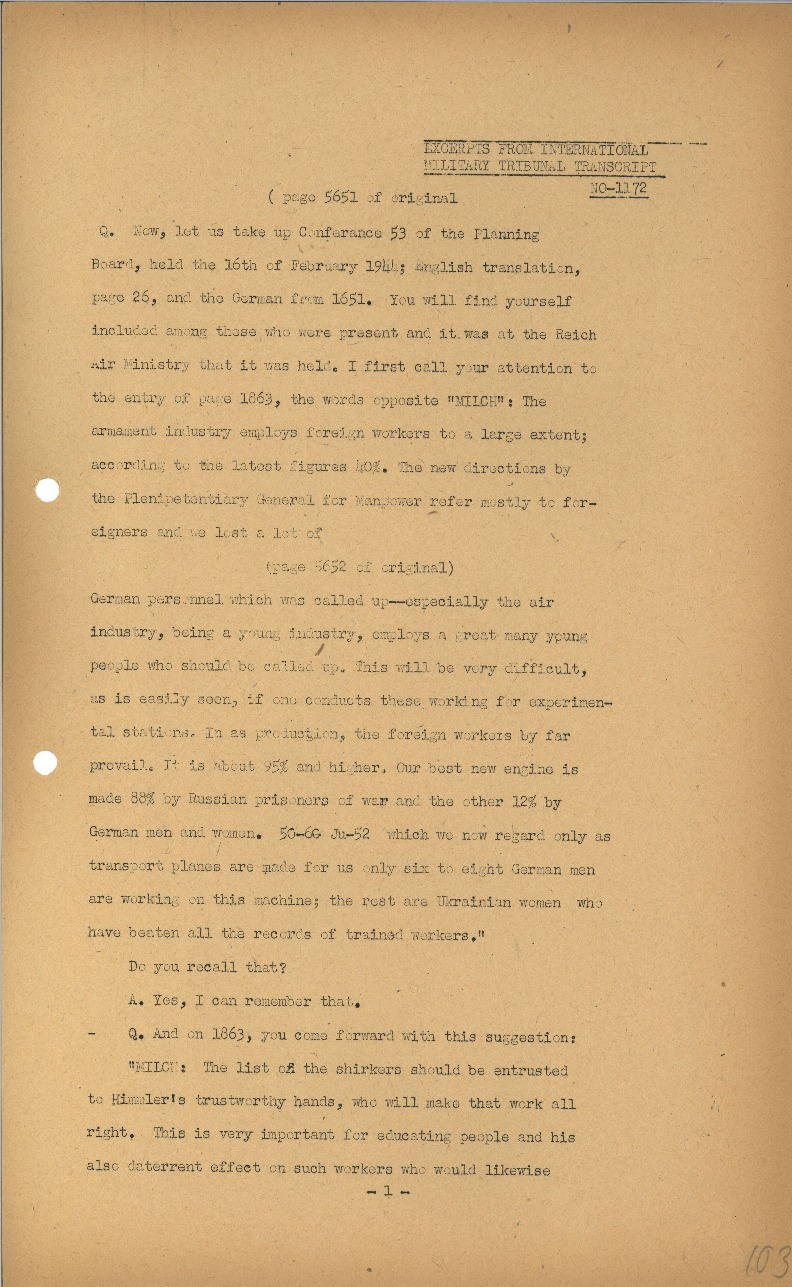 Nuremberg - Document Viewer - Extract from testimony by