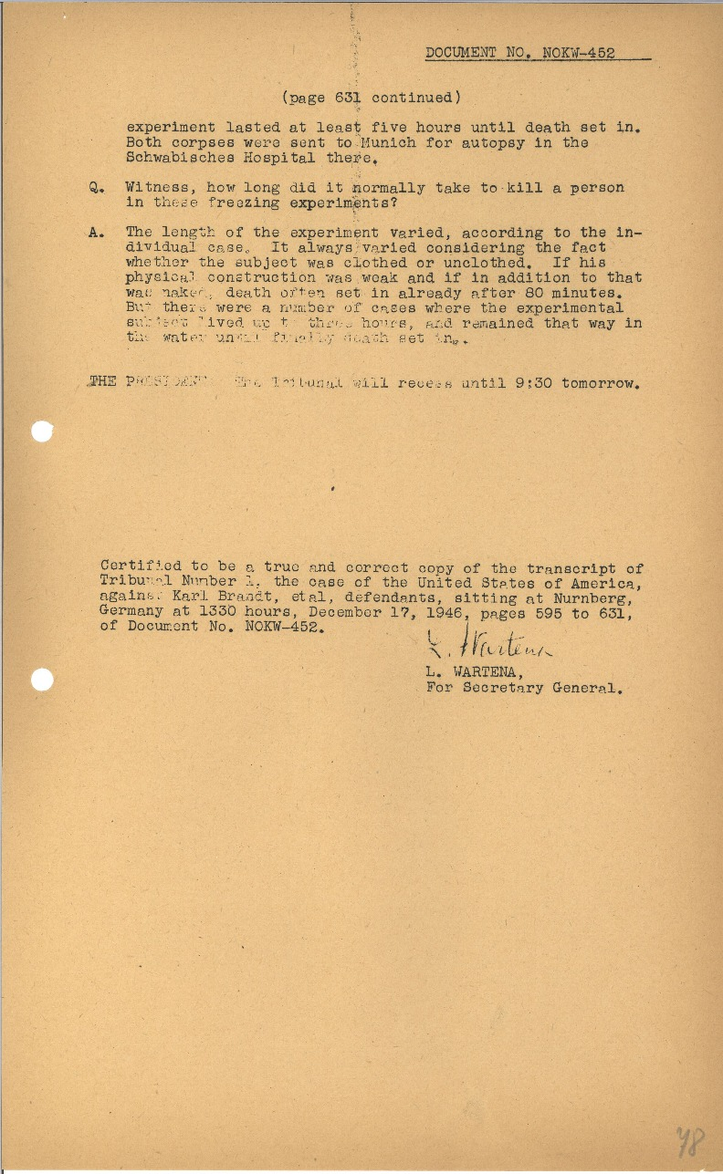 Nuremberg - Document Viewer - Extracts from the testimony of
