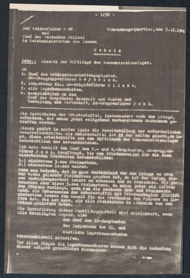 Nuremberg Document Viewer Instructions To Concentration Camp